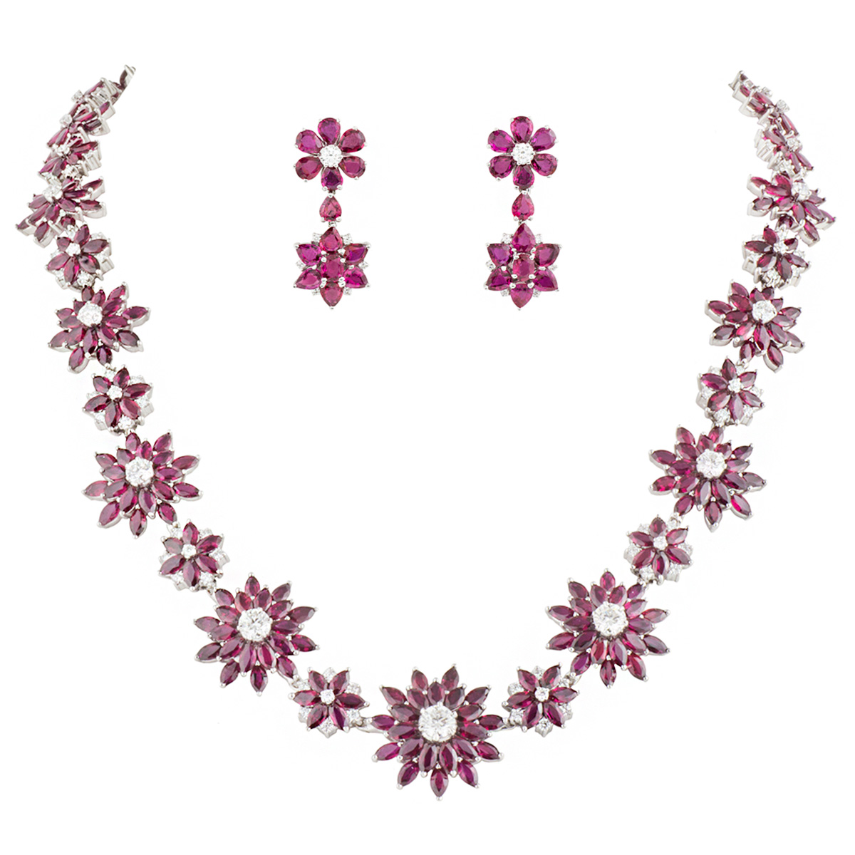 Ruby and Diamond Jewellery Suite